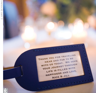 Since none of their guests lived in Ann Arbor, Jill and Nick gave out blue luggage tags as favors and slipped thank-you notes inside.