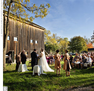 The leaves on the trees around the barn created such beautiful natural décor that the couple didn't have to add anything at all to their ceremony.