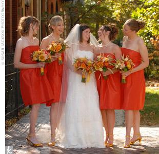 Bridesmaid Dresses In Deep Persimmon