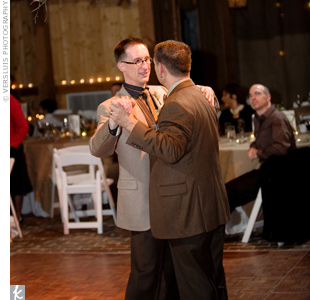 "Ed and Patrick wanted some regional swing/jazz flavor in their entertainment. Kansas City musicians AnnaLee and the Lucky So-and-So's performed ""Somewhere over the Rainbow"" for the couple's first dance."