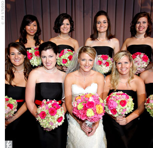 The eight bridesmaids wore the same Ann Taylor dress with a silk sash, along with the pearl earrings and necklaces Jenny gave them as gifts for being in her wedding.
