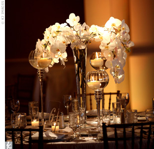 Phalaenopsis orchids draped down over candles on some tables. Other tables had hydrangeas and orchids to give the space some texture.