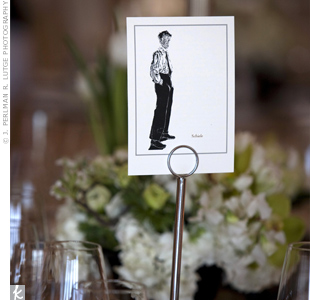 Instead of numbers, each table card displayed an image of an artist from the fin de siecle era with a paragraph about them on the back. The bride and groom were seated at the Aubrey Beardsley table.