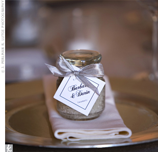 The couple nodded to their love of food by sending guests home with small jars of custom spiced sea salts.