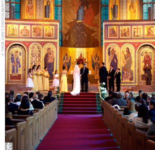 The bold colors and ornate tiling on the walls and ceiling of the Greek Orthodox Church where the couple tied the knot meant no additional decoration was necessary.
