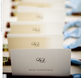 The couple's formal monogram worked in a touch of detail on the escort cards. The script font contrasted with guests' names in all capitals and in print.