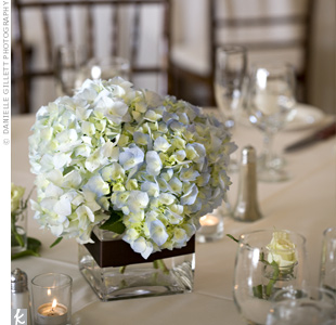 Square glass vases filled with light-blue hydrangeas echoed the look of the bridesmaid bouquets. Chocolate-brown ribbon around the vessels worked in the other color in the palette.