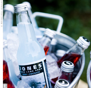 Guests washed down their meals with bottles of Jones Soda in the couple's wedding colors.