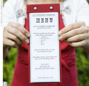 Robby, the groom, designed and printed the red-and-blue menu cards. The casual typefaces and design perfectly fit the laid-back rehearsal dinner vibe.