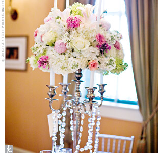 candelabra centerpiece wedding flowers