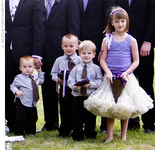 Matthew's niece wore a purple tank top and gold pettiskirt by Kaiya Eve while his three nephews sported striped shirts, purple ties, and brown corduroy pants.
