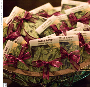 Guests took home packs of basil seeds wrapped in purple ribbon -- a nod to the couple's last name, Basile.