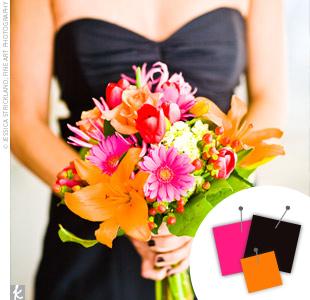 Hot Pink + Orange + Black > See more pink wedding details > See more orange wedding details > See more black wedding details > See more pink, orange, and black wedding details