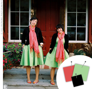 Wedding Color Combo: Mint Green + Salmon + Black > See more green wedding details > See more pink wedding details > See more black wedding details > See more green, pink, and black wedding details