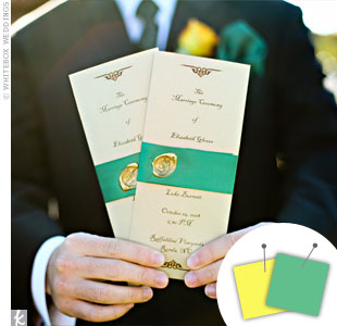 Wedding Color Combo: Green + Chocolate Brown > See more green wedding details > See more yellow wedding details > See more green and yellow wedding details
