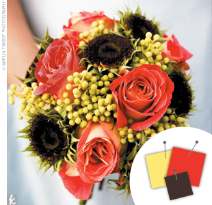 Orange + Chartreuse + Brown > See more orange wedding details > See more yellow wedding details > See more brown wedding details > See more orange, yellow, and brown wedding details