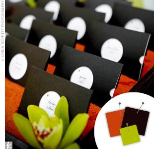 Orange + Chocolate + Green > See more orange wedding details > See more brown wedding details > See more green wedding details > See more orange, brown, and green wedding details