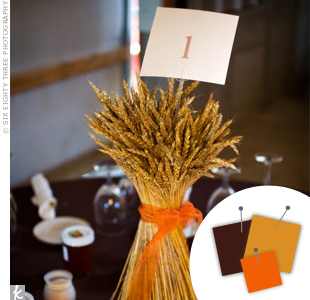 Orange + Chocolate + Gold > See more orange wedding details > See more brown wedding details > See more gold wedding details > See more orange, brown, and gold wedding details