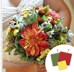 Burnt Orange + Green + Yellow