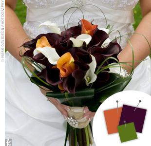 Orange + Eggplant + Green > See more orange wedding details > See more purple wedding details > See more green wedding details > See more orange, purple, and green wedding details