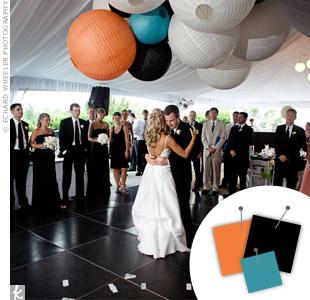 Orange + Black + Turquoise > See more orange wedding details > See more black wedding details > See more blue wedding details > See more orange, black, and blue wedding details