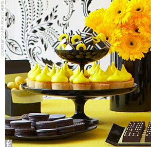 Dessert Table Theme #3: A Graphic Black and Yellow Dessert Bar