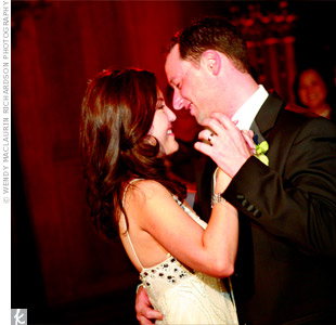 "The newlyweds chose to do a lively foxtrot to the upbeat ""A Wink and a Smile,"" by Harry Connick, Jr."