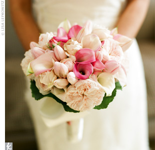 Peonies weren't in season, so garden roses stood in to create a similarly lush look. Pink and white tulips and calla lilies upped the texture.