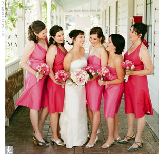 Each woman chose her own dress style in one of two shades of pink and accessorized with gray or silver shoes for a unified, but not uniform, look.