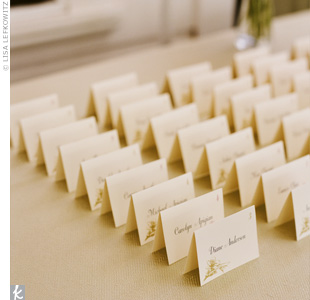 The lovebirds and flower details from the invitations were shrunk down and used to jazz up opposite corners of each escort card.