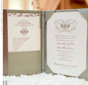 The letterpress stationery with the couples formal monogram set the tone for the opulent wedding. Each one arrived in portfolio-like folders covered in celadon silk.