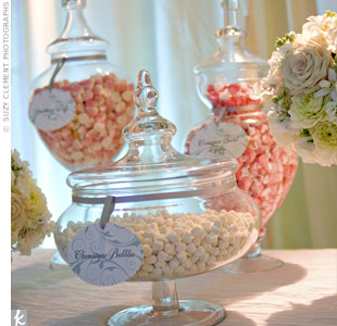 Treats in the couples soft palette filled a variety of apothecary jars.