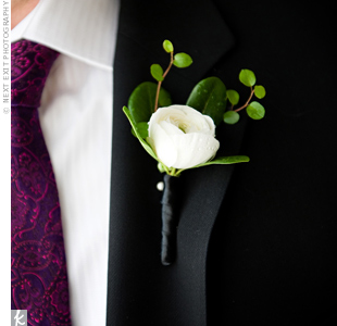 Dave's boutonniere was a gardenia accented with guinea fowl feathers.