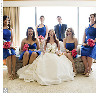 The bridesmaids and the man of honor, Bree's brother, wore cobalt blue. Each girl chose a style that best suited her, and gold shoes and jewelry kept with the antique look.