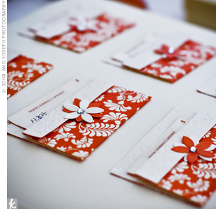Keeping with Korean tradition, the guest book prompted guests to write their names and addresses on cards so the couple would know where to send their thank-you notes later.