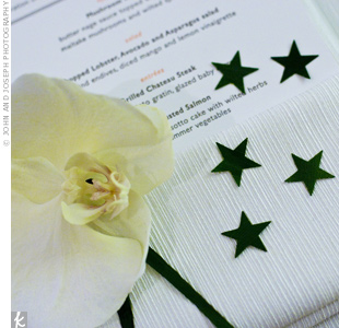 Metallic, star-shaped confetti, symbolizing the falling stars Jessica and Scott watched on their first date, spruced up the napkins and menu cards at each place setting.