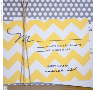 Kelly used a white-and-yellow color combo in designing all of the day's stationery, including the wedding's signature chevron motif.