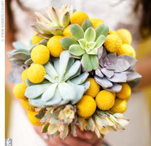 The wedding's color palette inspired the flowers. Kelly loved the modern, pop-art feel of her bouquet: bright craspedia mixed with succulents, which are native to Palm Springs.