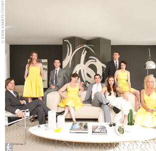 Kelly's bridesmaids wore lemon-yellow J.Crew dresses in the style of their choice. Chris asked his three groomsmen to choose their own gray suits too.