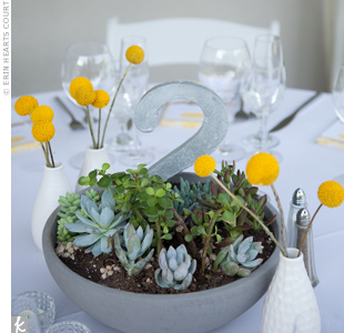 Kelly and Chris filled cement pots with succulents and added metal table numbers in the center. Ceramic bud vases around each pot held stems of craspedia for a pop of yellow.