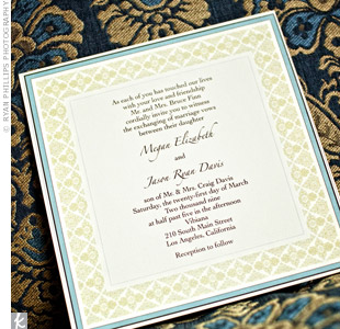 Jason's brother designed Megan and Jason's invitations using the modern damask pattern that was carried throughout the stationery, and also on the linens and cake.