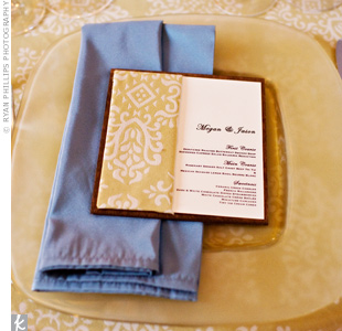 Megan and Jason hand-made the menu cards using stained wood, fabric and ivory card stock.
