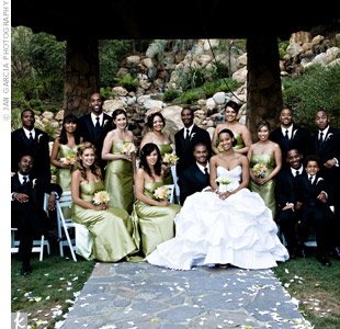 The bridesmaids wore floor-length, celery-green dresses, while the groomsmen were equally formal in tuxes with black, striped ties.