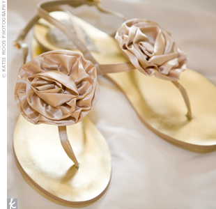 Champagne Wedding Flip Flops