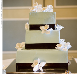 Rachel and Barry's three-tiered, pale-blue, buttercream-frosted cake was decorated with white sugar orchids and chocolate-brown ribbon.