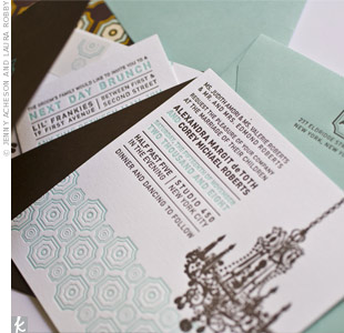 The invites were important to Alex, who's into the graphic arts. She went all out with letterpress printing and combined a big chandelier icon with a pattern in the wedding's signature blue color at the bottom.