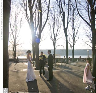 Helen and Eric exchanged vows at sunset. Since it was a public park, there were onlookers who clapped when it was over.