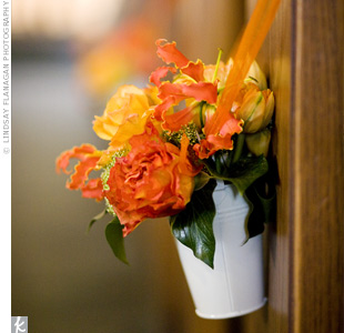 Orange Floral Ceremony Decor