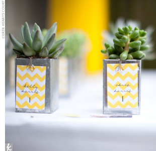 Contained in personalized pots that double as escort cards, these hardy plants pull double duty as wedding favors. Bonus: They hardly ever need watering -- perfect for green thumb-challenged guests!