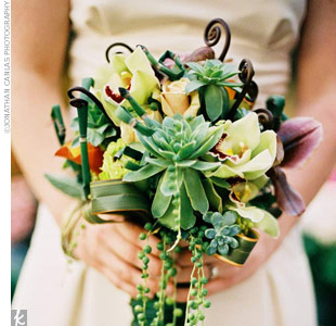 Succulents add an architectural element when mixed with other florals.